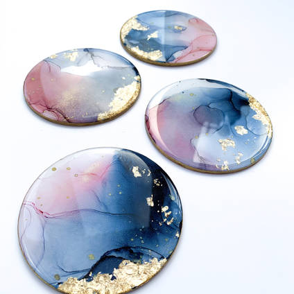 Alcohol Ink Coasters by Emily Mcsevich Art