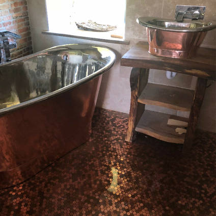Epoxy Resin Penny Floor in a Bathroom using GlassCast 3 by Andre Lefevre