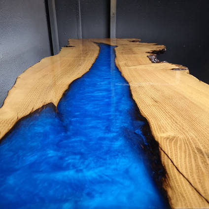 Electric Blue River Table by Waters Edge Joinery