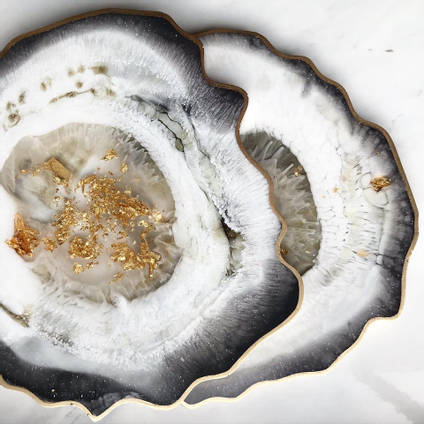 Black, White and Gold Agate Coasters using GlassCast 3 by Claudia Barrasso Designs
