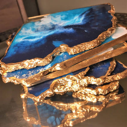 Blue Ocean Resin Coaster Stack using GlassCast 3 by Luna-Art-Resin