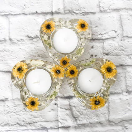 Yellow Candle Holders by E.B Flower Preservation
