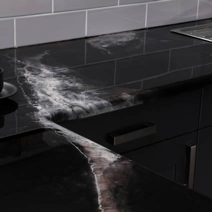 GlassCast Cosmic Black Granite Resin Countertop Side and Sink