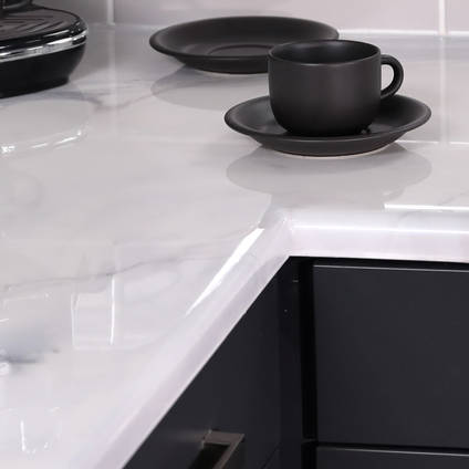White Marble Effect Resin Countertop - Closeup
