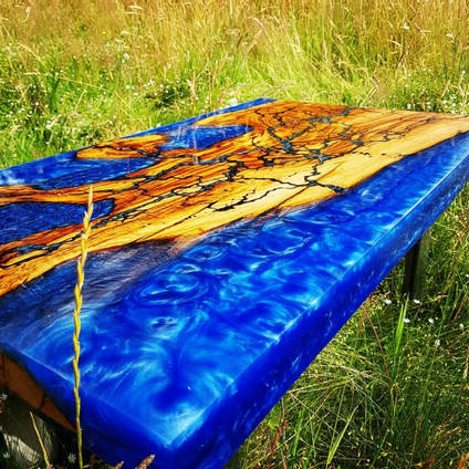 Electric Blue SHIMR Lighting Table by Beermat Customs