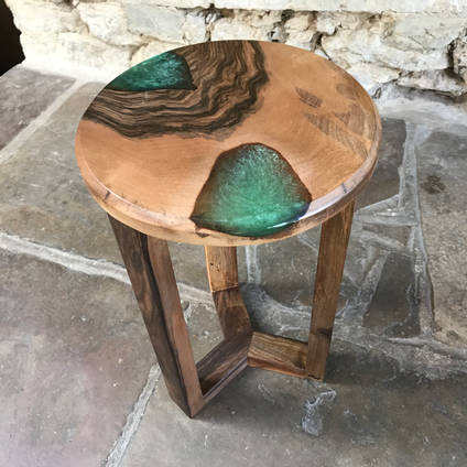 Emerald Green SHIMR and Walnut Table by ManorWood Designs