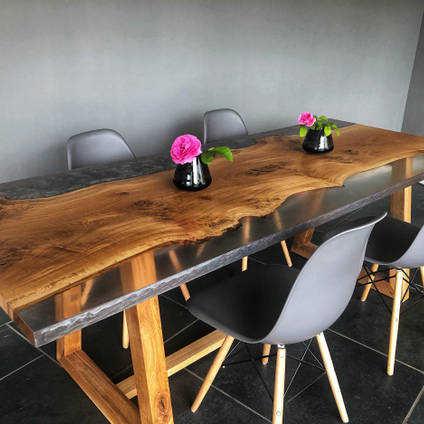 Oak with Clear and Grey Resin Dining Table by ManorWood Designs