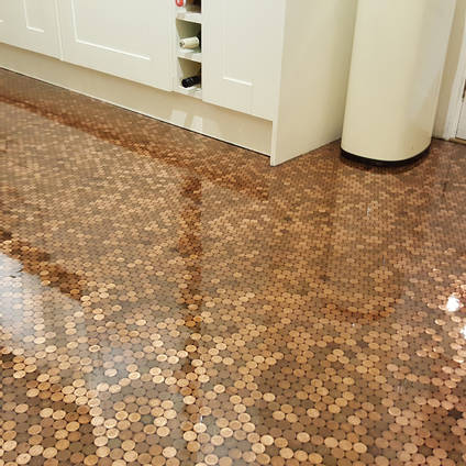 Resin Penny Floor in a Kitchen by Matt Giles