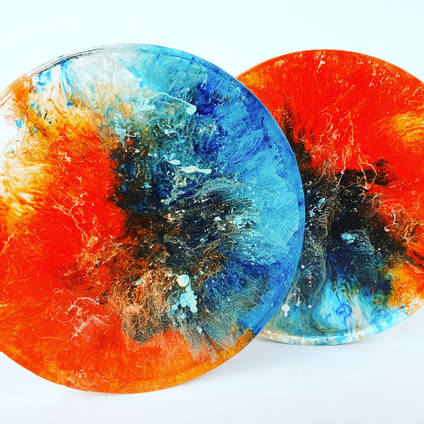 Orange and Blue Coaster by Kurious Wood