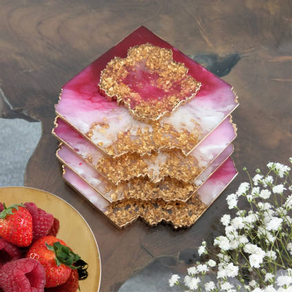 Pink Resin Agate Coaster using GlassCast 3 by by Luna-Art Resin