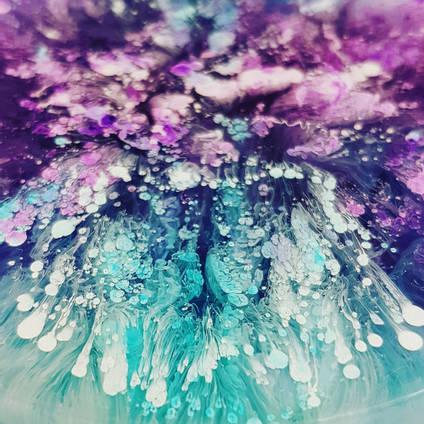 Purple and Blue Petri Dish by Asha Tank Art