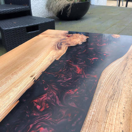 Red and Black SHIMR River Table by Scottish Woodcraft