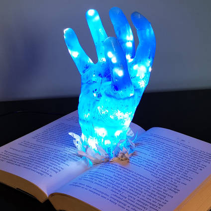 Resin Hand in Book Lamp by MB Resin Art