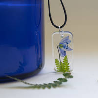Blue Flower Resin Pendant by Flauropia Thumbnail