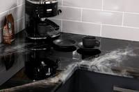GlassCast Cosmic Black Granite Resin Countertop with Coffee Machine on Diagonal Thumbnail