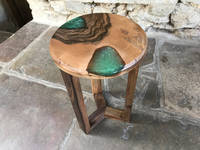 Emerald Green SHIMR and Walnut Table by ManorWood Designs Thumbnail