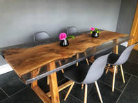 Oak with Clear and Grey Resin Dining Table by ManorWood Designs Thumbnail