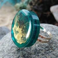 Sea Green and Gold Ring by Karen Mackay Designs Thumbnail