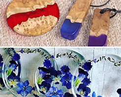 Typical applications for GlassCast 10 include wood and resin jewellery and artistic coasters