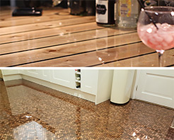 Typical application for GlassCast 3 include resin penny floors and glossy bartops