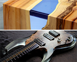 Typical applications for GlassCast 10 include river tables and clear resin guitars